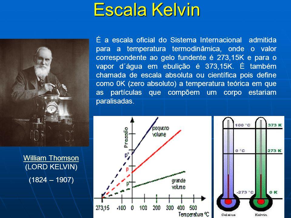 Escala Kelvin É a escala oficial do Sistema Internacional admitida para a temperatura termodinâmica, onde o valor correspondente ao gelo fundente é 273,15K e para o vapor d´água em ebulição é 373,15K.