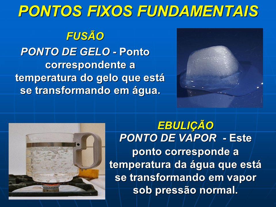 EBULIÇÃO PONTO DE VAPOR - Este ponto corresponde a temperatura da água que está se transformando em vapor sob pressão normal. FUSÃO PONTO DE GELO - Po