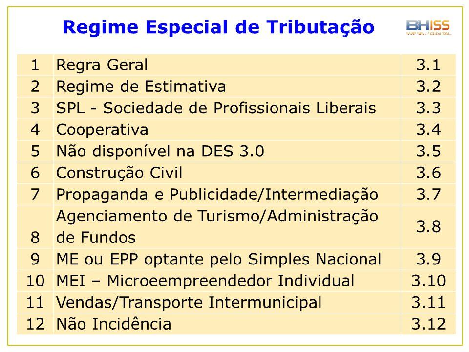 1Regra Geral 3.1 2Regime de Estimativa 3.2 3SPL - Sociedade de Profissionais Liberais 3.3 4Cooperativa 3.4 5Não disponível na DES 3.0 3.5 6Construção