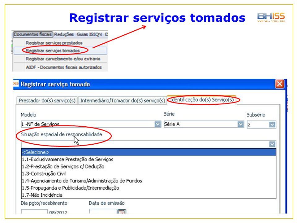 Registrar serviços tomados