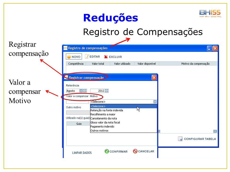 Reduções Registro de Compensações Valor a compensar Motivo Registrar compensação