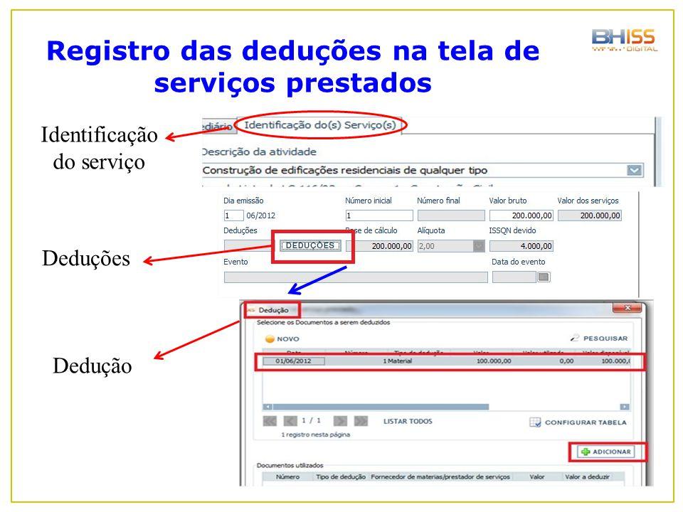 Registro das deduções na tela de serviços prestados Identificação do serviço Deduções Dedução