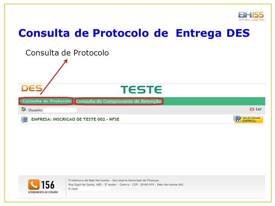 Consulta de Protocolo Consulta de Protocolo de Entrega DES