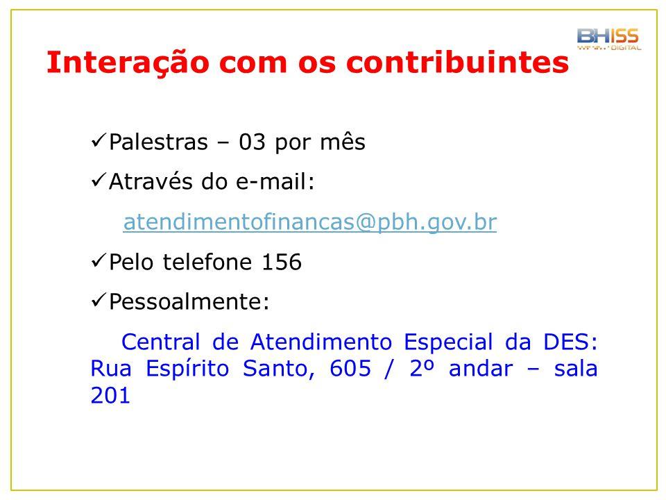 Palestras – 03 por mês Através do e-mail: atendimentofinancas@pbh.gov.br Pelo telefone 156 Pessoalmente: Central de Atendimento Especial da DES: Rua E