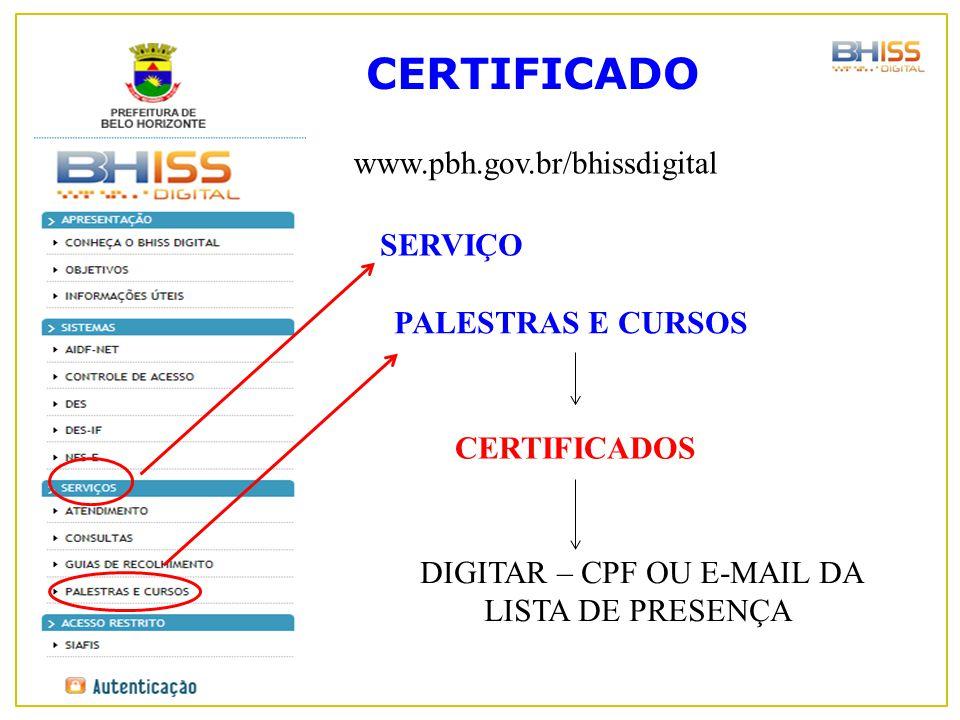 CERTIFICADO www.pbh.gov.br/bhissdigital DIGITAR – CPF OU E-MAIL DA LISTA DE PRESENÇA SERVIÇO PALESTRAS E CURSOS CERTIFICADOS