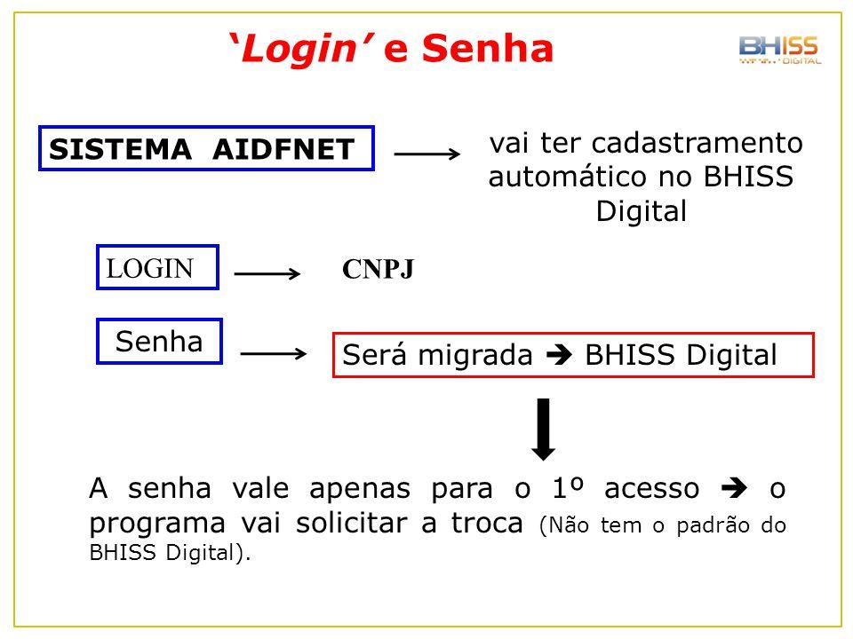 'Login' e Senha Será migrada  BHISS Digital Senha A senha vale apenas para o 1º acesso  o programa vai solicitar a troca (Não tem o padrão do BHISS
