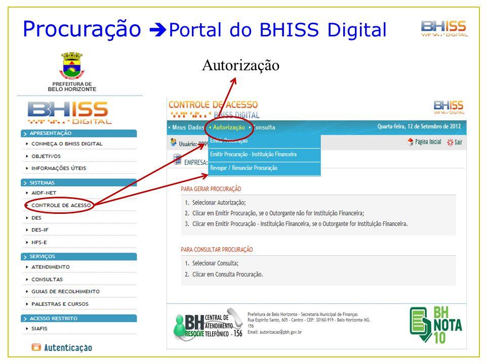 Procuração  Portal do BHISS Digital Autorização