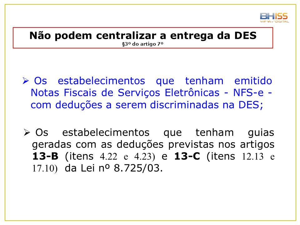 Não podem centralizar a entrega da DES §3º do artigo 7º  Os estabelecimentos que tenham emitido Notas Fiscais de Serviços Eletrônicas - NFS-e - com d