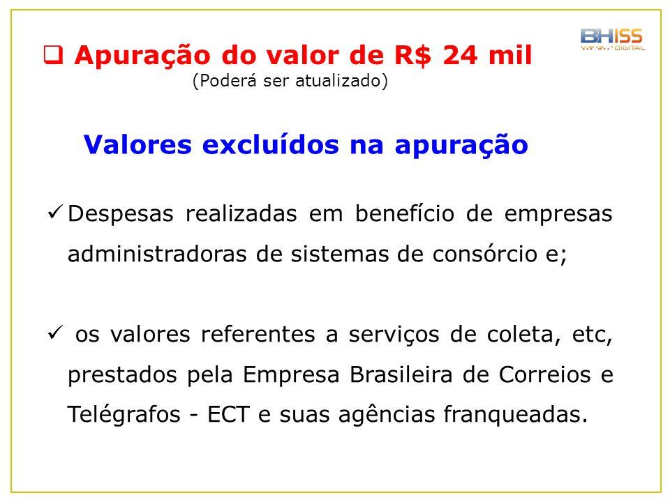 Despesas realizadas em benefício de empresas administradoras de sistemas de consórcio e; os valores referentes a serviços de coleta, etc, prestados pe