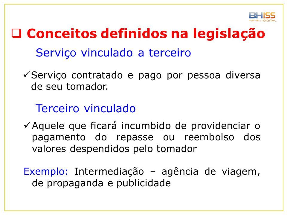  Conceitos definidos na legislação Serviço vinculado a terceiro Serviço contratado e pago por pessoa diversa de seu tomador. Terceiro vinculado Aquel