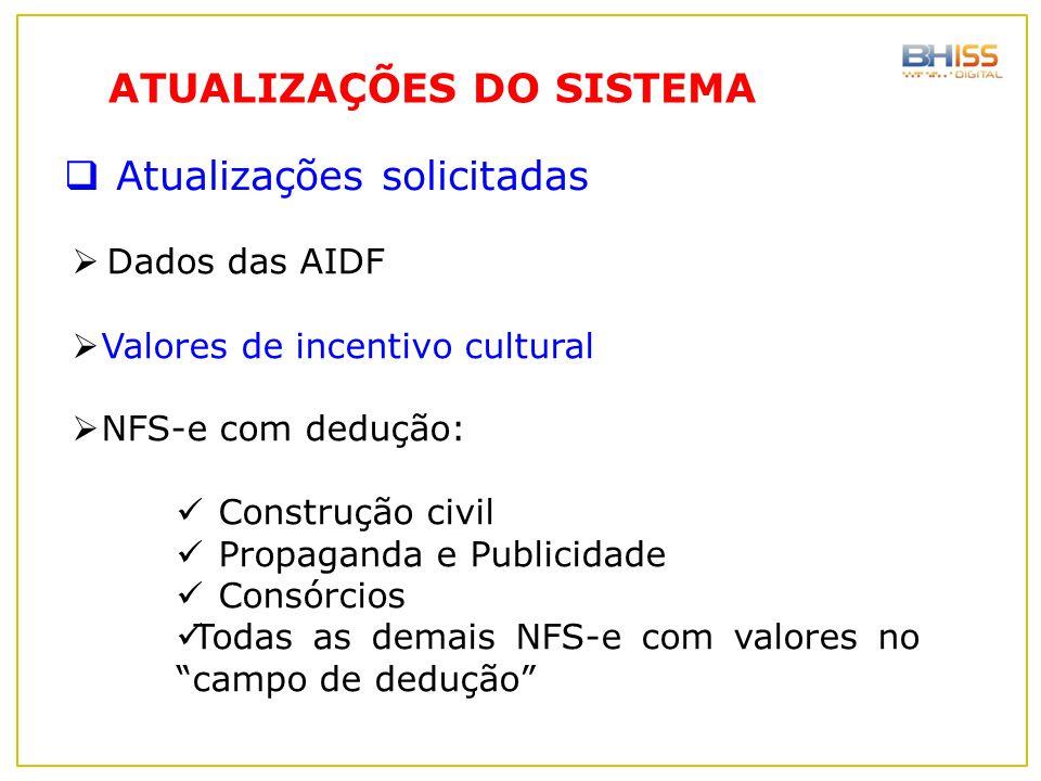  Dados das AIDF  Valores de incentivo cultural  NFS-e com dedução: Construção civil Propaganda e Publicidade Consórcios Todas as demais NFS-e com v