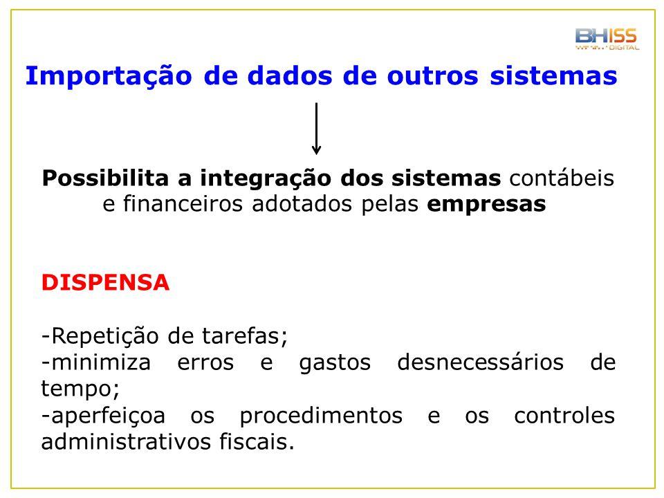 Possibilita a integração dos sistemas contábeis e financeiros adotados pelas empresas DISPENSA -Repetição de tarefas; -minimiza erros e gastos desnece