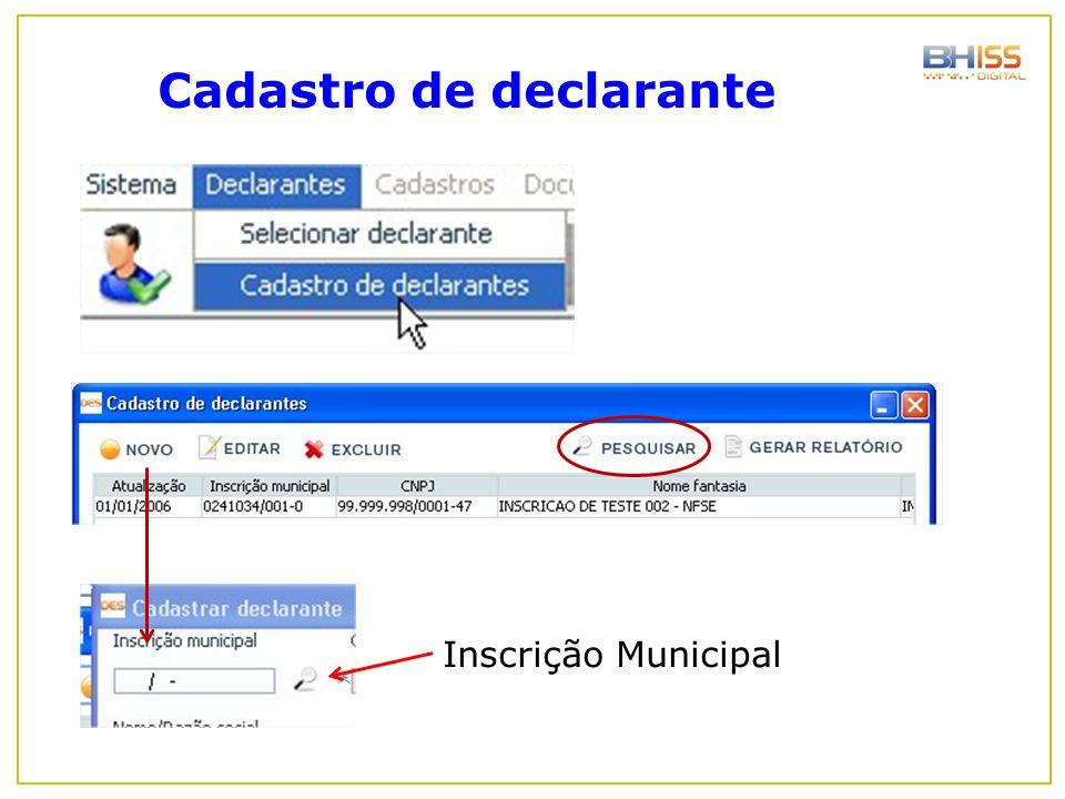 Cadastro de declarante Inscrição Municipal