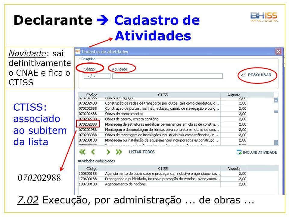 Declarante  Cadastro de Atividades Novidade: sai definitivamente o CNAE e fica o CTISS CTISS: associado ao subitem da lista 070202988 7.02 Execução,