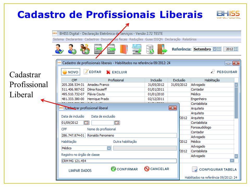 Cadastro de Profissionais Liberais Cadastrar Profissional Liberal