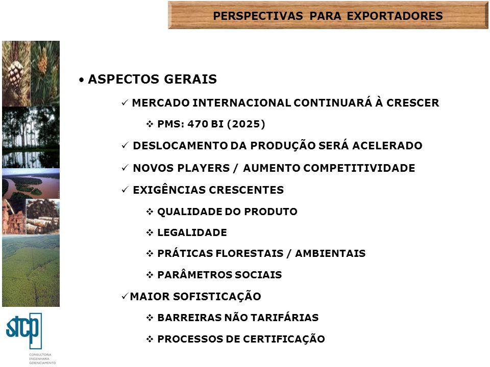 ASPECTOS GERAIS MERCADO INTERNACIONAL CONTINUARÁ À CRESCER  PMS: 470 BI (2025) DESLOCAMENTO DA PRODUÇÃO SERÁ ACELERADO NOVOS PLAYERS / AUMENTO COMPET