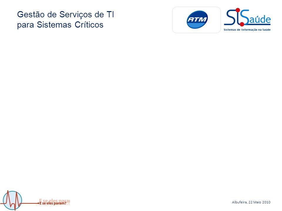 Albufeira, 22 Maio 2010 Gestão de Serviços de TI para Sistemas Críticos