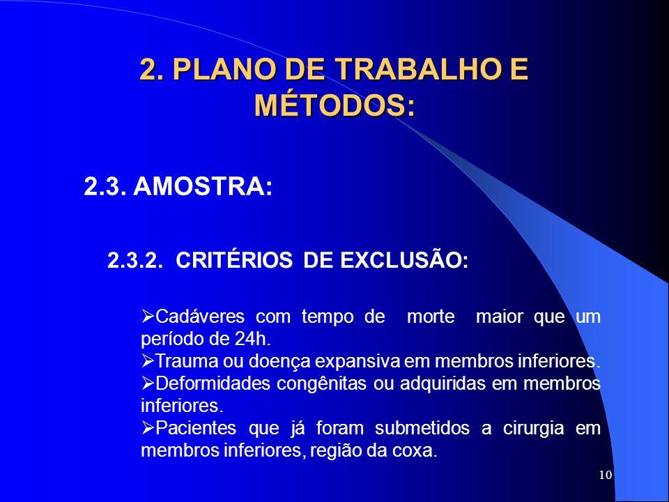 10 2.PLANO DE TRABALHO E MÉTODOS: 2.3. AMOSTRA: 2.3.2.