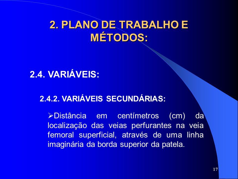 17 2. PLANO DE TRABALHO E MÉTODOS: 2.4. VARIÁVEIS: 2.4.2. VARIÁVEIS SECUNDÁRIAS:  Distância em centímetros (cm) da localização das veias perfurantes