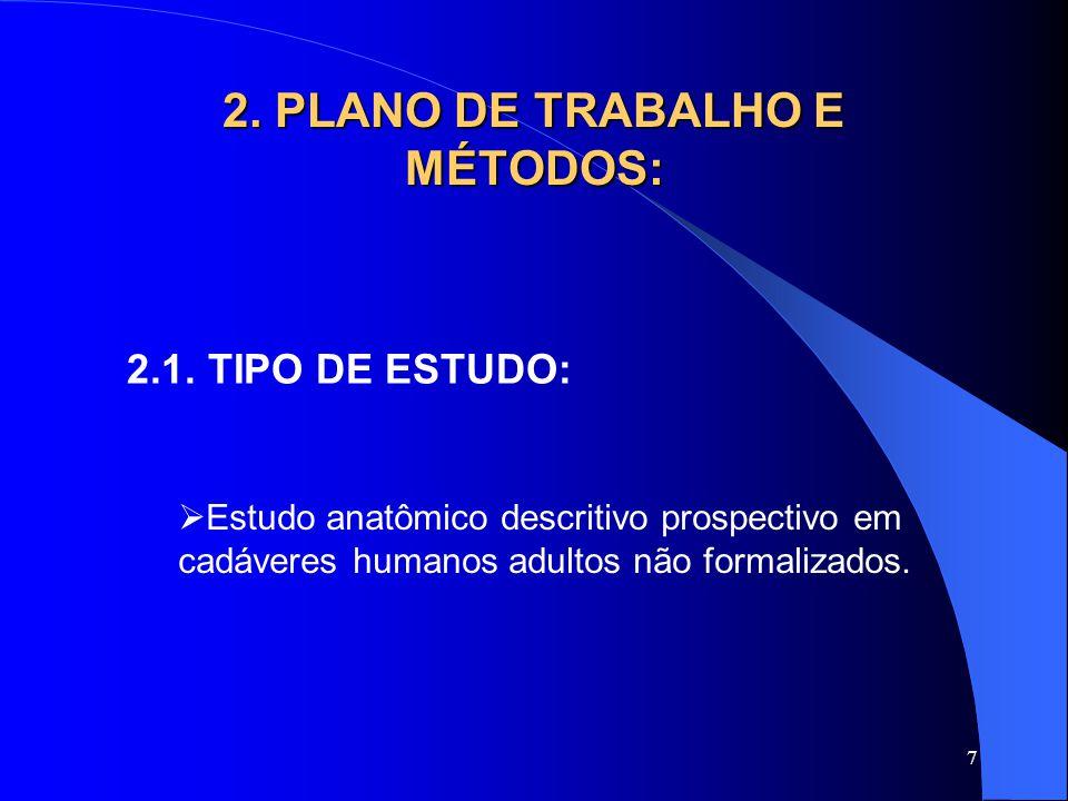 7 2. PLANO DE TRABALHO E MÉTODOS: 2.1. TIPO DE ESTUDO:  Estudo anatômico descritivo prospectivo em cadáveres humanos adultos não formalizados.