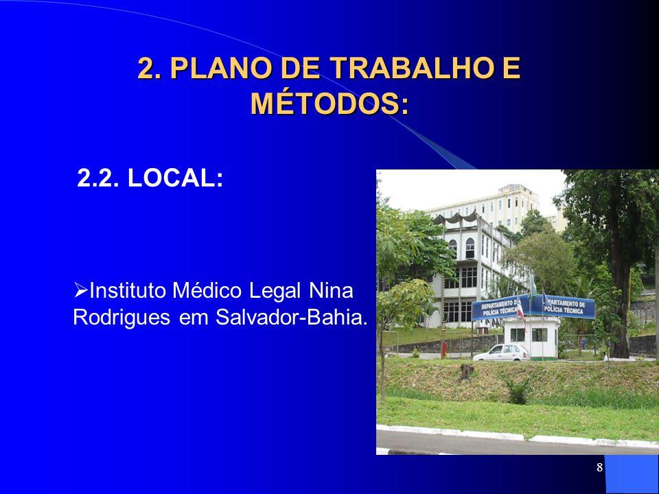 8 2. PLANO DE TRABALHO E MÉTODOS: 2.2. LOCAL:  Instituto Médico Legal Nina Rodrigues em Salvador-Bahia.