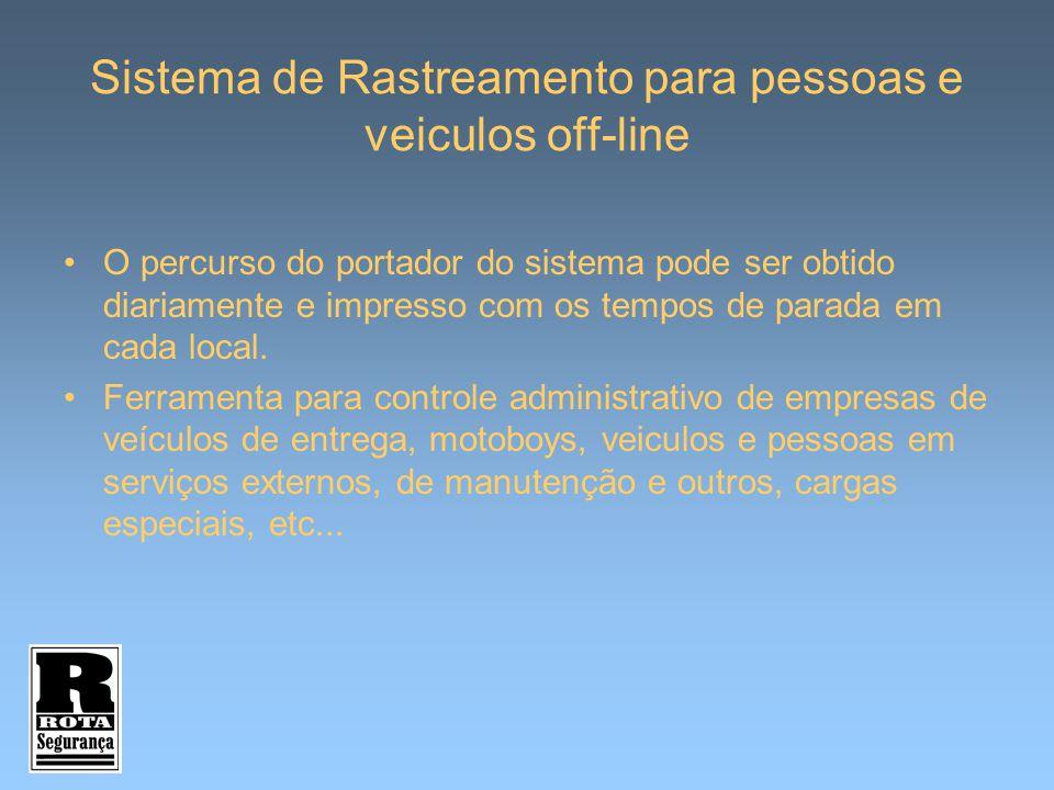 Sistema de Rastreamento para pessoas e veiculos off-line O percurso do portador do sistema pode ser obtido diariamente e impresso com os tempos de par
