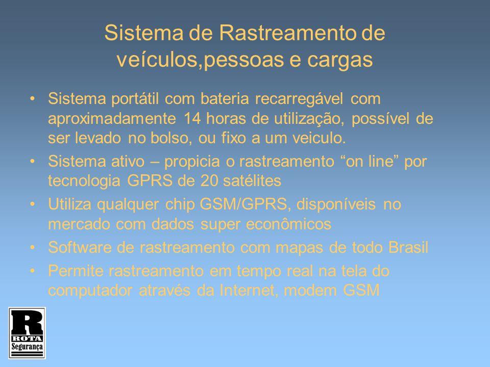 Sistema de Rastreamento de veículos,pessoas e cargas Sistema portátil com bateria recarregável com aproximadamente 14 horas de utilização, possível de