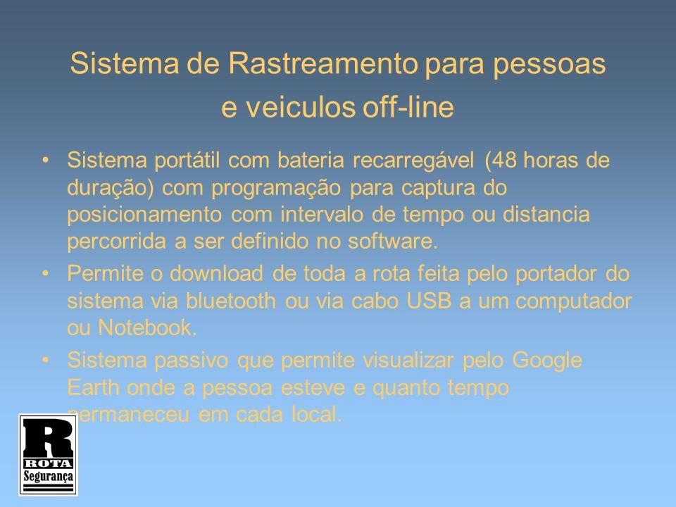 Sistema de Rastreamento para pessoas e veiculos off-line Sistema portátil com bateria recarregável (48 horas de duração) com programação para captura