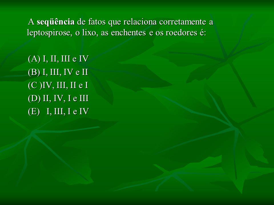 A seqüência de fatos que relaciona corretamente a leptospirose, o lixo, as enchentes e os roedores é: A seqüência de fatos que relaciona corretamente a leptospirose, o lixo, as enchentes e os roedores é: (A) I, II, III e IV (A) I, II, III e IV (B) I, III, IV e II (B) I, III, IV e II (C )IV, III, II e I (C )IV, III, II e I (D) II, IV, I e III (D) II, IV, I e III (E) I, III, I e IV (E) I, III, I e IV