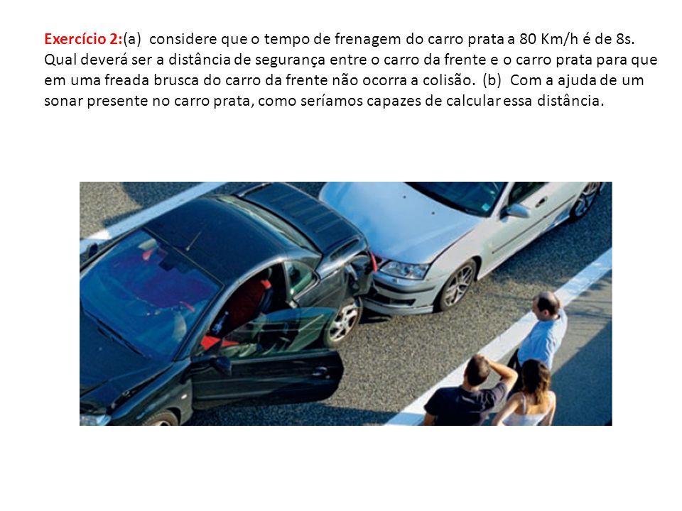 Exercício 2:(a) considere que o tempo de frenagem do carro prata a 80 Km/h é de 8s.