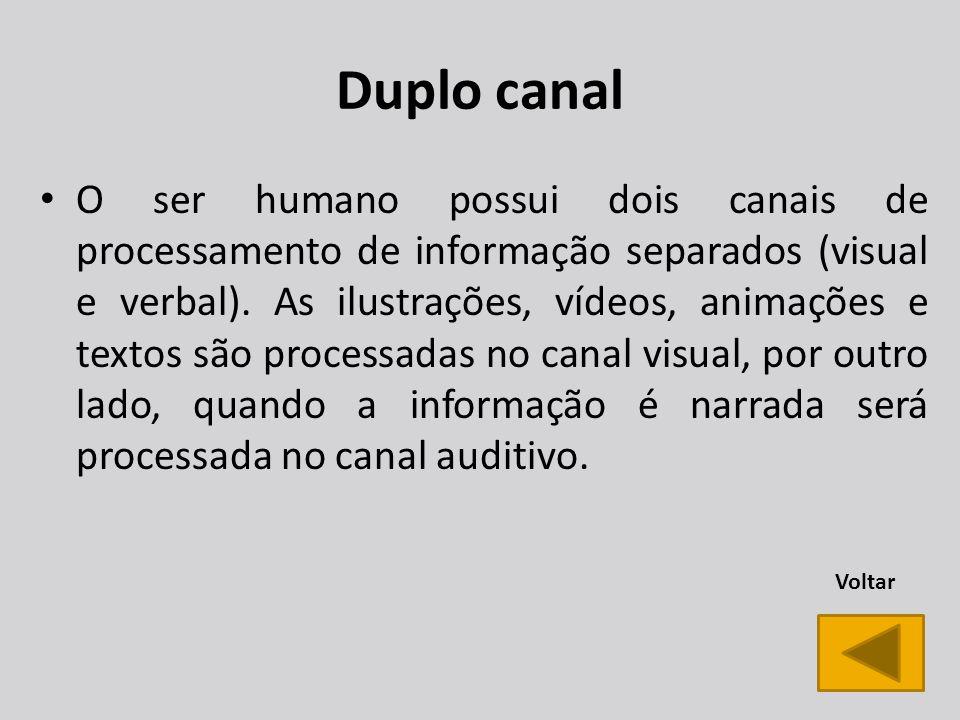 Duplo canal O ser humano possui dois canais de processamento de informação separados (visual e verbal).