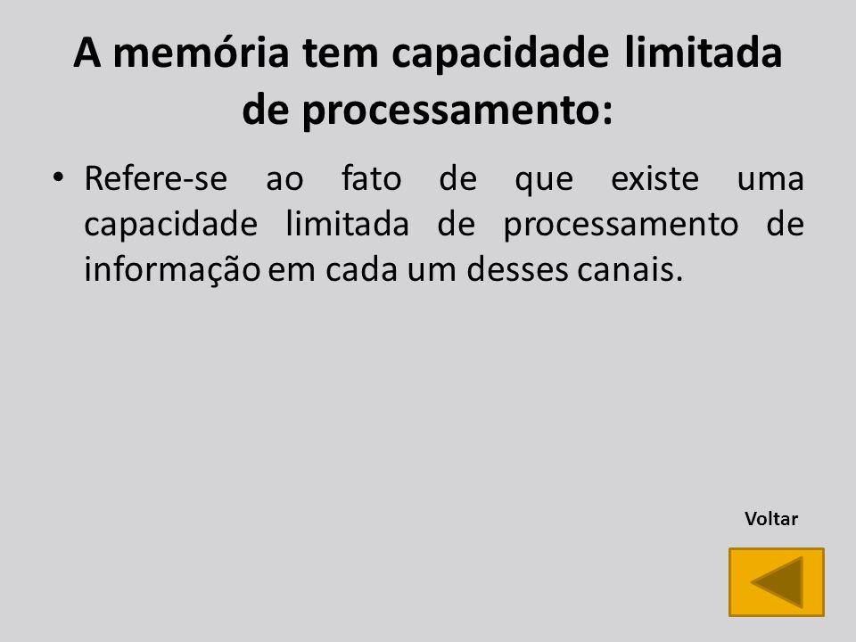 A memória tem capacidade limitada de processamento: Refere-se ao fato de que existe uma capacidade limitada de processamento de informação em cada um desses canais.