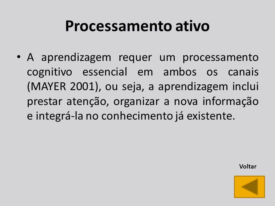 Processamento ativo A aprendizagem requer um processamento cognitivo essencial em ambos os canais (MAYER 2001), ou seja, a aprendizagem inclui prestar atenção, organizar a nova informação e integrá-la no conhecimento já existente.