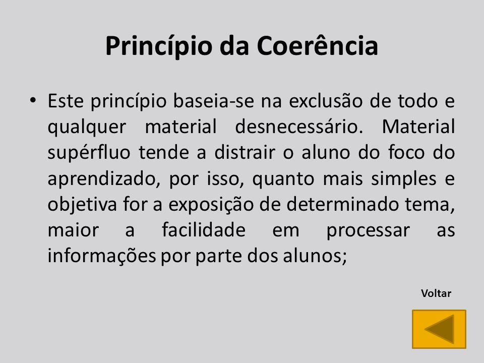 Princípio da Coerência Este princípio baseia-se na exclusão de todo e qualquer material desnecessário.