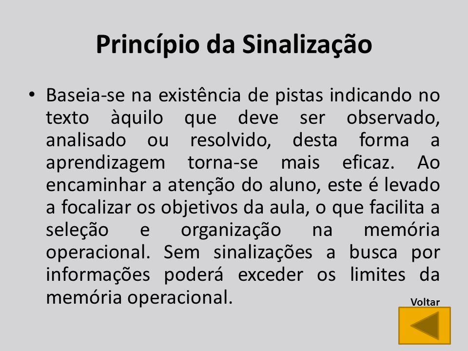 Princípio da Sinalização Baseia-se na existência de pistas indicando no texto àquilo que deve ser observado, analisado ou resolvido, desta forma a aprendizagem torna-se mais eficaz.