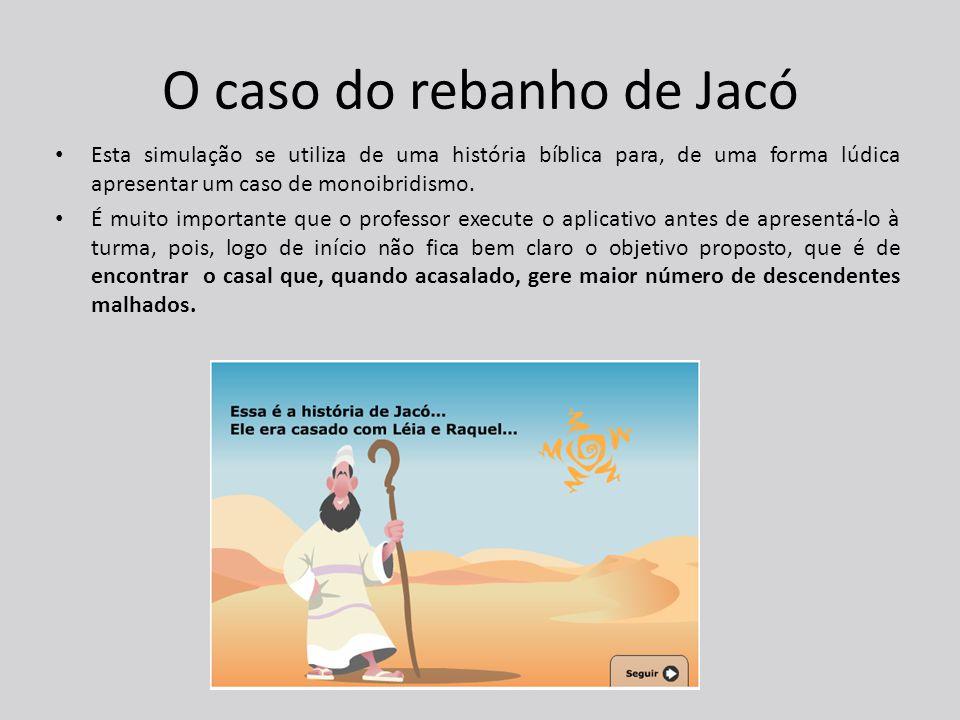 O caso do rebanho de Jacó Esta simulação se utiliza de uma história bíblica para, de uma forma lúdica apresentar um caso de monoibridismo.