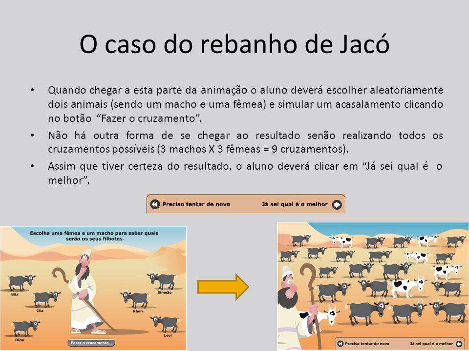 O caso do rebanho de Jacó Quando chegar a esta parte da animação o aluno deverá escolher aleatoriamente dois animais (sendo um macho e uma fêmea) e simular um acasalamento clicando no botão Fazer o cruzamento .