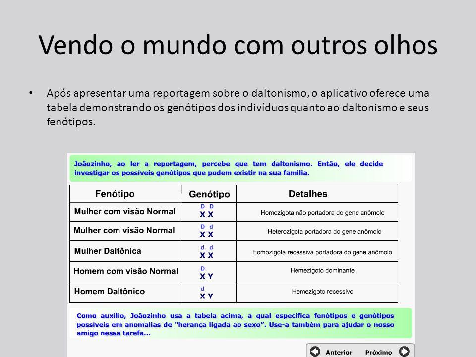 Vendo o mundo com outros olhos Após apresentar uma reportagem sobre o daltonismo, o aplicativo oferece uma tabela demonstrando os genótipos dos indivíduos quanto ao daltonismo e seus fenótipos.