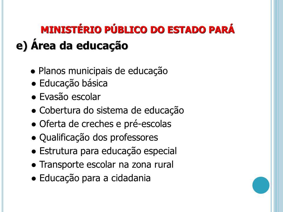 MINISTÉRIO PÚBLICO DO ESTADO PARÁ e) Área da educação ● ● Planos municipais de educação ● Educação básica ● Evasão escolar ● Cobertura do sistema de e