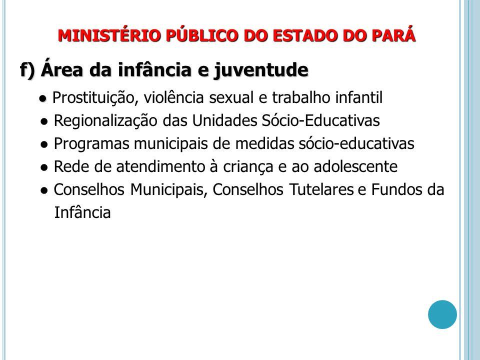 MINISTÉRIO PÚBLICO DO ESTADO DO PARÁ f) Área da infância e juventude ● ● Prostituição, violência sexual e trabalho infantil ● Regionalização das Unida