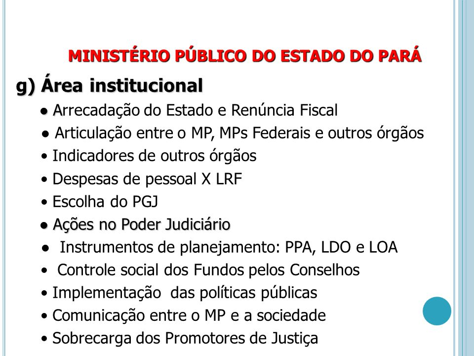 MINISTÉRIO PÚBLICO DO ESTADO DO PARÁ g) Área institucional ● A ● Arrecadação do Estado e Renúncia Fiscal ● Articulação entre o MP, MPs Federais e outr