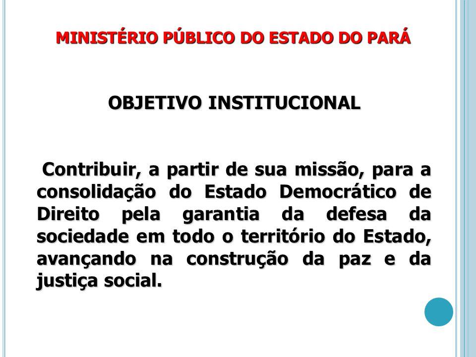 MINISTÉRIO PÚBLICO DO ESTADO DO PARÁ OBJETIVO INSTITUCIONAL Contribuir, a partir de sua missão, para a consolidação do Estado Democrático de Direito p