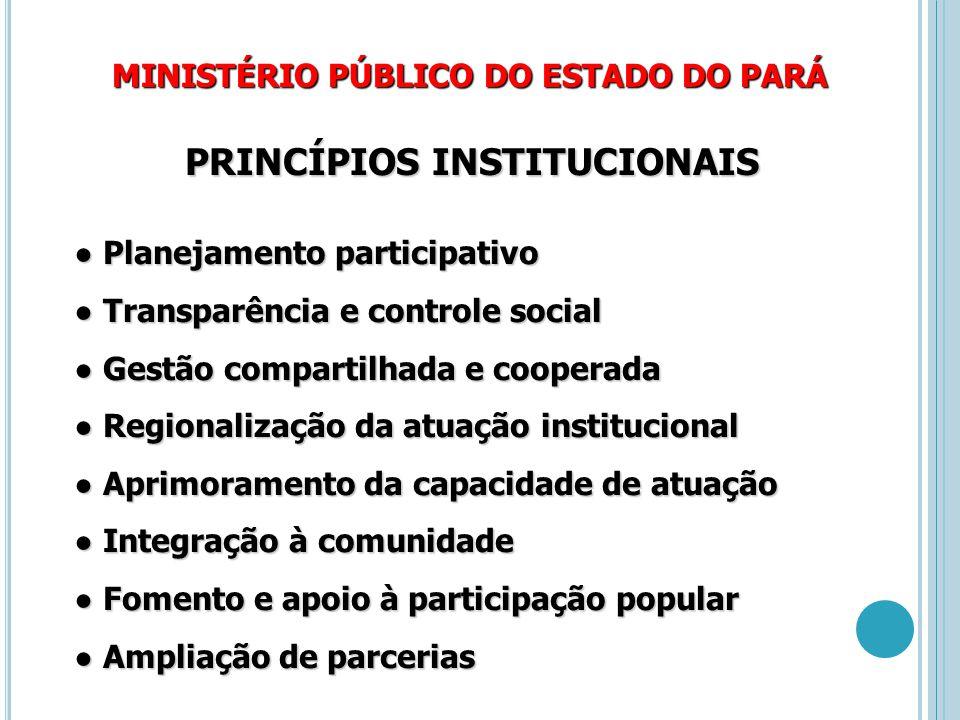 MINISTÉRIO PÚBLICO DO ESTADO DO PARÁ PRINCÍPIOS INSTITUCIONAIS ● Planejamento participativo ● Transparência e controle social ● Gestão compartilhada e