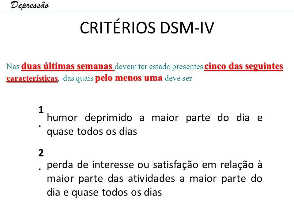 CRITÉRIOS DSM-IV 1.1. humor deprimido a maior parte do dia e quase todos os dias 2.2. perda de interesse ou satisfação em relação à maior parte das at