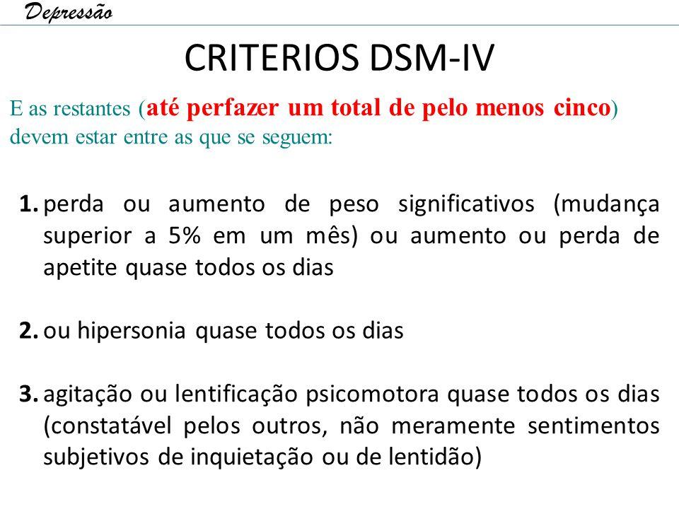 CRITERIOS DSM-IV 1. perda ou aumento de peso significativos (mudança superior a 5% em um mês) ou aumento ou perda de apetite quase todos os dias 2. ou