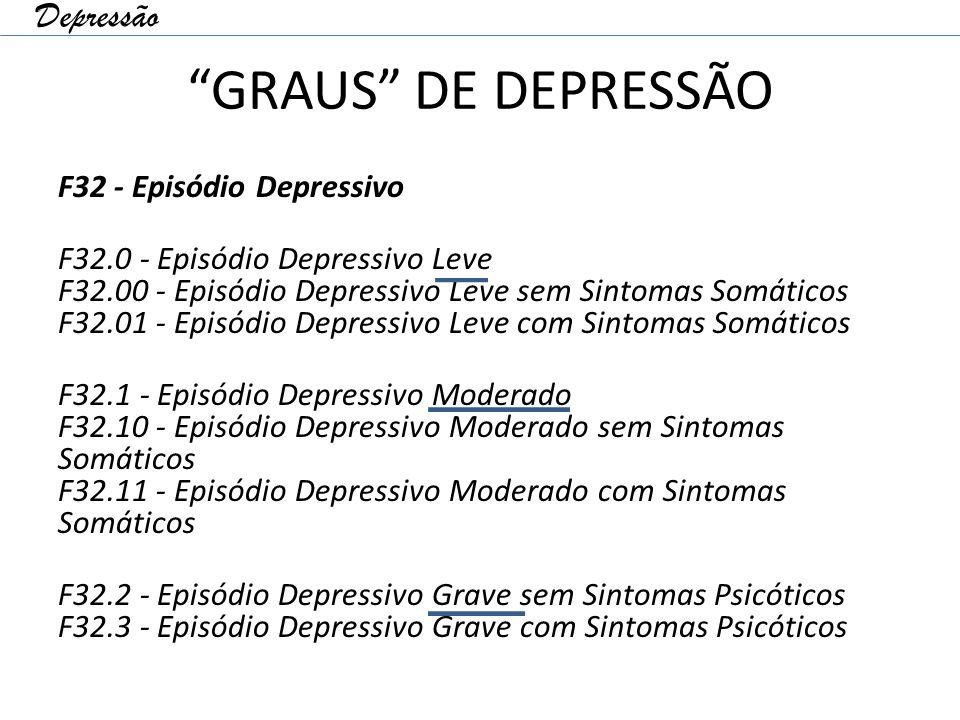 GRAUS DE DEPRESSÃO F32 - Episódio Depressivo F32.0 - Episódio Depressivo Leve F32.00 - Episódio Depressivo Leve sem Sintomas Somáticos F32.01 - Episódio Depressivo Leve com Sintomas Somáticos F32.1 - Episódio Depressivo Moderado F32.10 - Episódio Depressivo Moderado sem Sintomas Somáticos F32.11 - Episódio Depressivo Moderado com Sintomas Somáticos F32.2 - Episódio Depressivo Grave sem Sintomas Psicóticos F32.3 - Episódio Depressivo Grave com Sintomas Psicóticos Depressão
