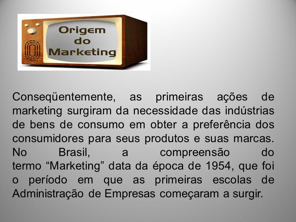 Conseqüentemente, as primeiras ações de marketing surgiram da necessidade das indústrias de bens de consumo em obter a preferência dos consumidores pa