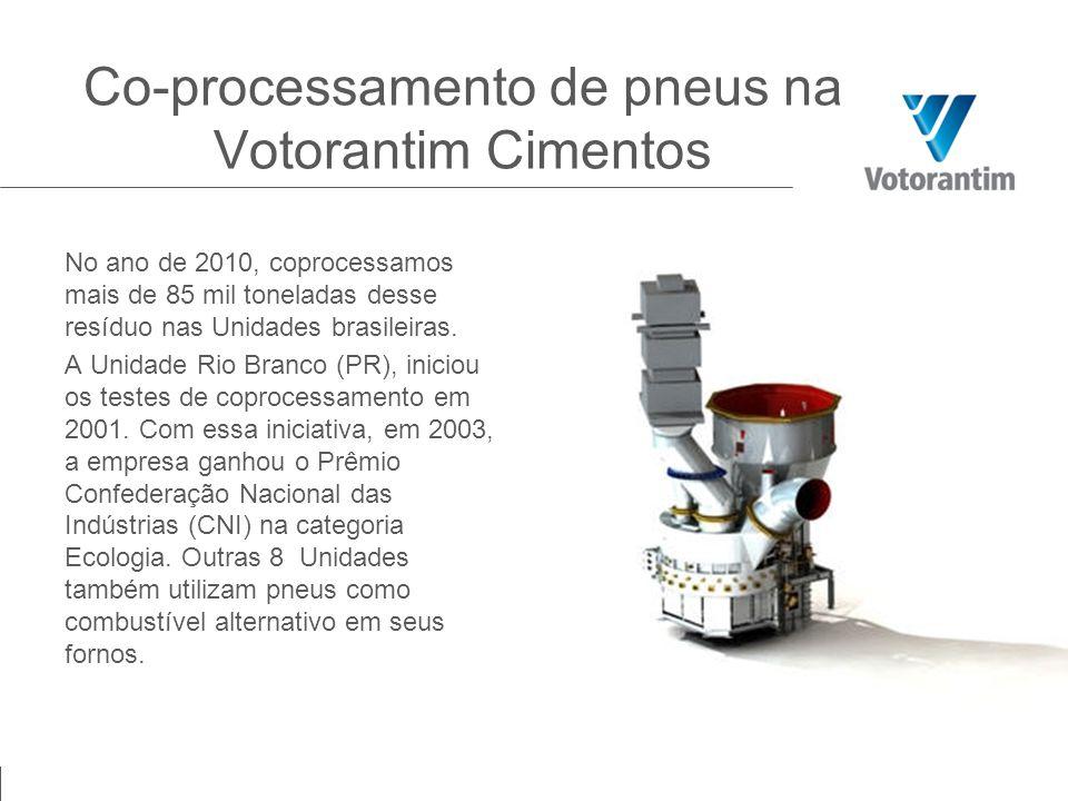 Co-processamento de pneus na Votorantim Cimentos No ano de 2010, coprocessamos mais de 85 mil toneladas desse resíduo nas Unidades brasileiras. A Unid