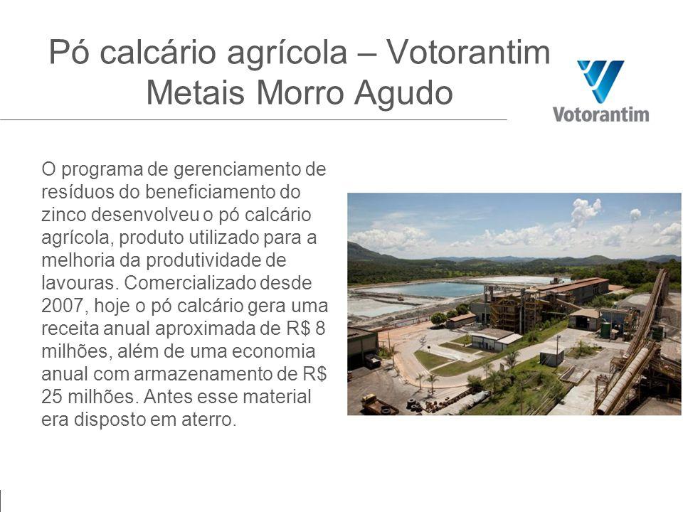 O programa de gerenciamento de resíduos do beneficiamento do zinco desenvolveu o pó calcário agrícola, produto utilizado para a melhoria da produtivid