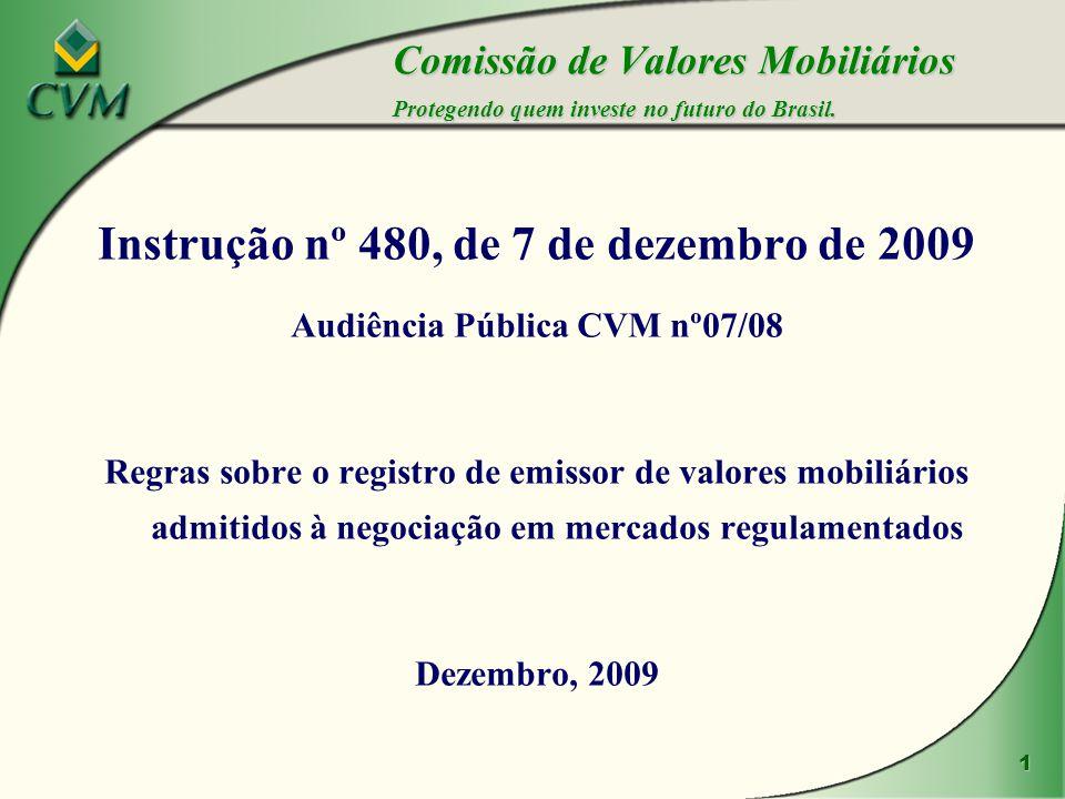 1 Instrução nº 480, de 7 de dezembro de 2009 Audiência Pública CVM nº07/08 Regras sobre o registro de emissor de valores mobiliários admitidos à negociação em mercados regulamentados Dezembro, 2009 Comissão de Valores Mobiliários Protegendo quem investe no futuro do Brasil.